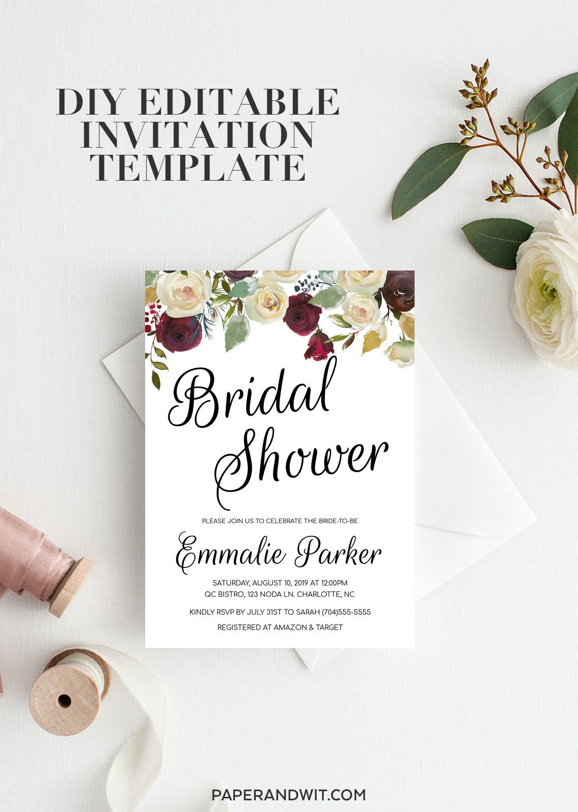 Floral Bridal Shower Invitation Instant Download Floral Etsy Floral Bridal Shower Invitations Bridal Shower Invitations Printable Bridal Shower Invitations