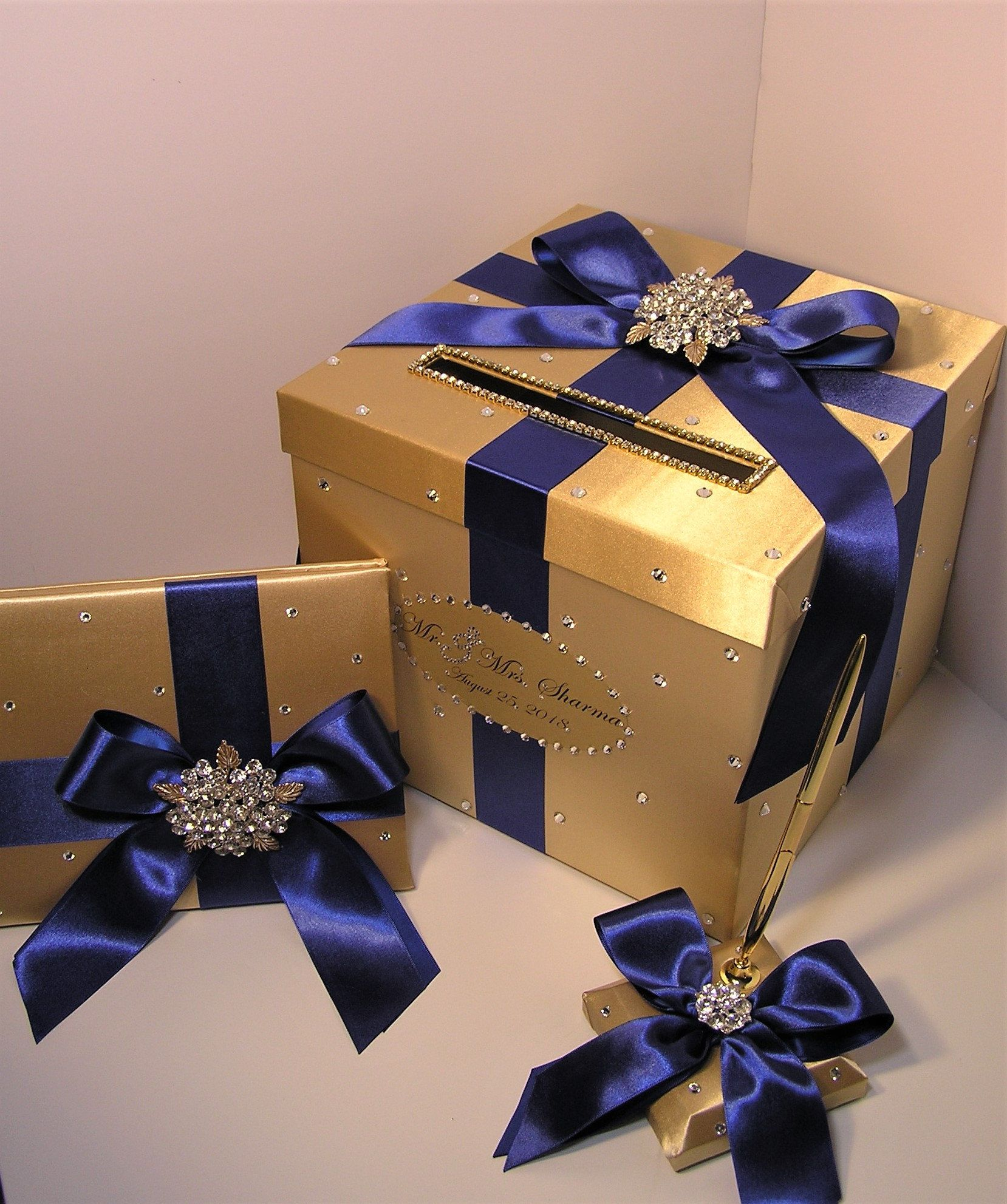 Wedding/Quinceañera/Sweet16 Card Box Sets,1 tier Gold and