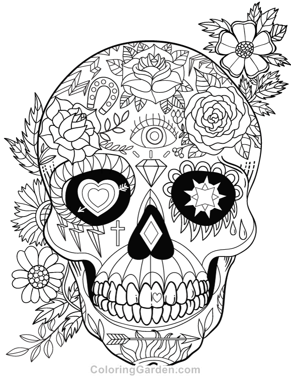 Free printable sugar skull (Day of the Dead) adult coloring page ...