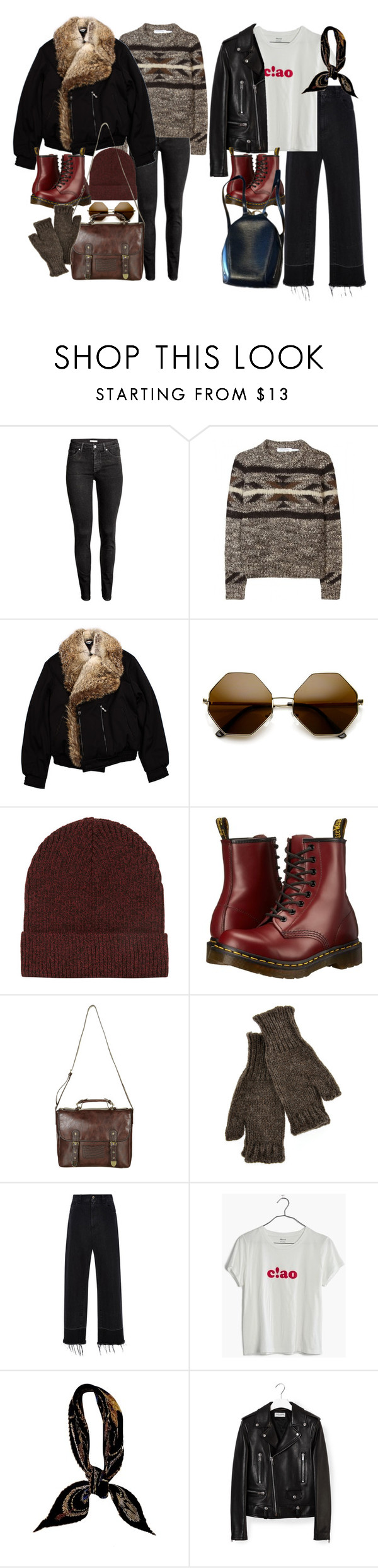 """""""How to style 1460 Smooth in Cherry Red doc martens"""" by nikka-phillips ❤ liked on Polyvore featuring H&M, Étoile Isabel Marant, Bos Bison, ZeroUV, Topshop, Dr. Martens, Inverni, Rachel Comey, Madewell and Hermès"""
