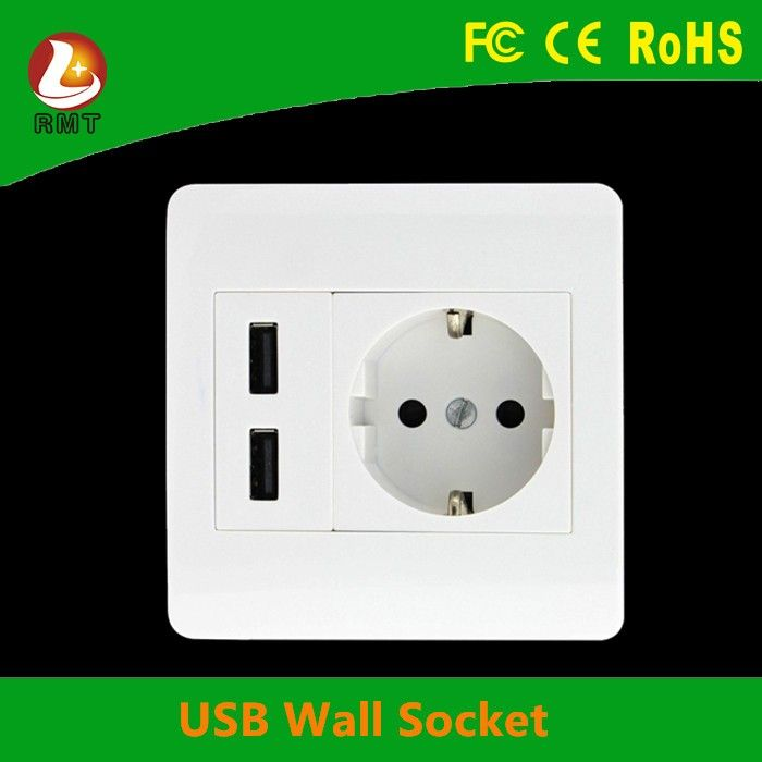 2016 Hot selling switch and 2 usb ports multi wall socket eu usb ...