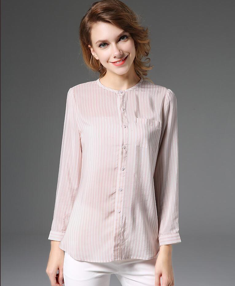 2c739fef31e 36% Silkworm Silk Woman Spring Autumn New Fashion Stripe European Long  Sleeve Shirt Women OL
