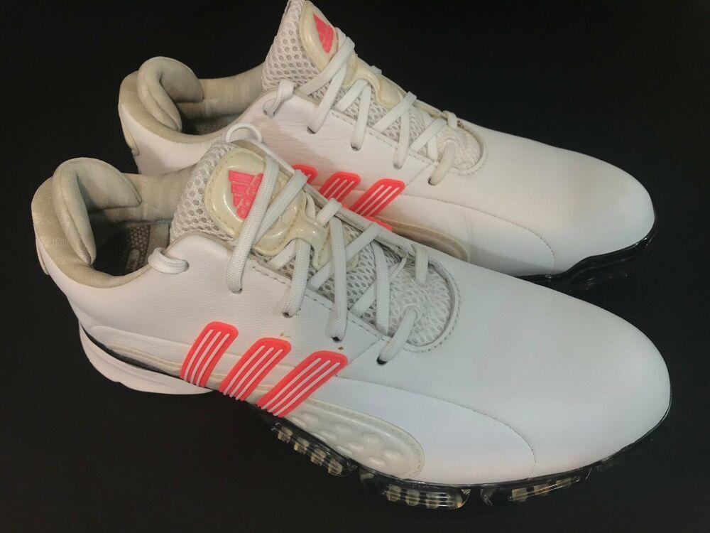 Adidas Powerband Boost Golf Shoes Womens SZ 7 White Peach Pink Mint ... 838e17e5275