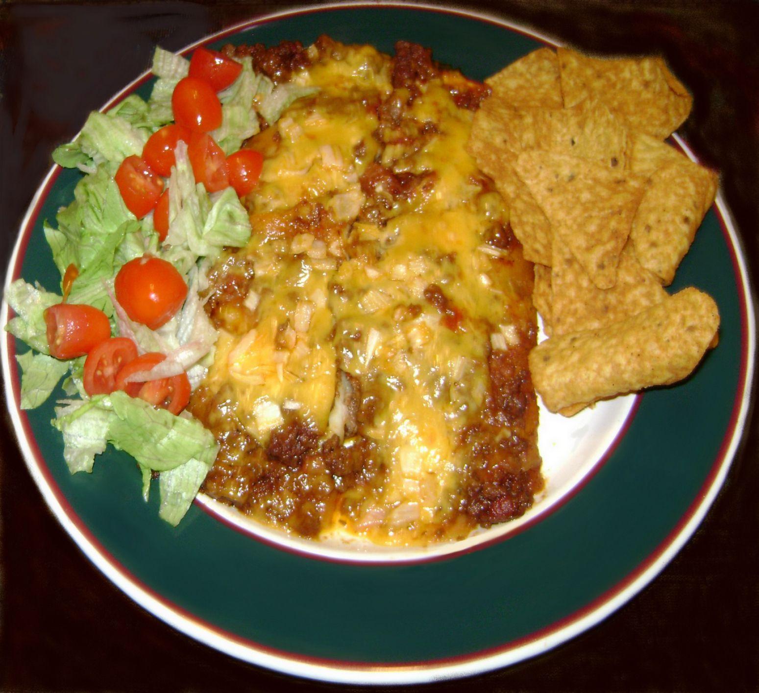 Yum... I'd Pinch That!   TexMex Chili Cheese Enchiladas