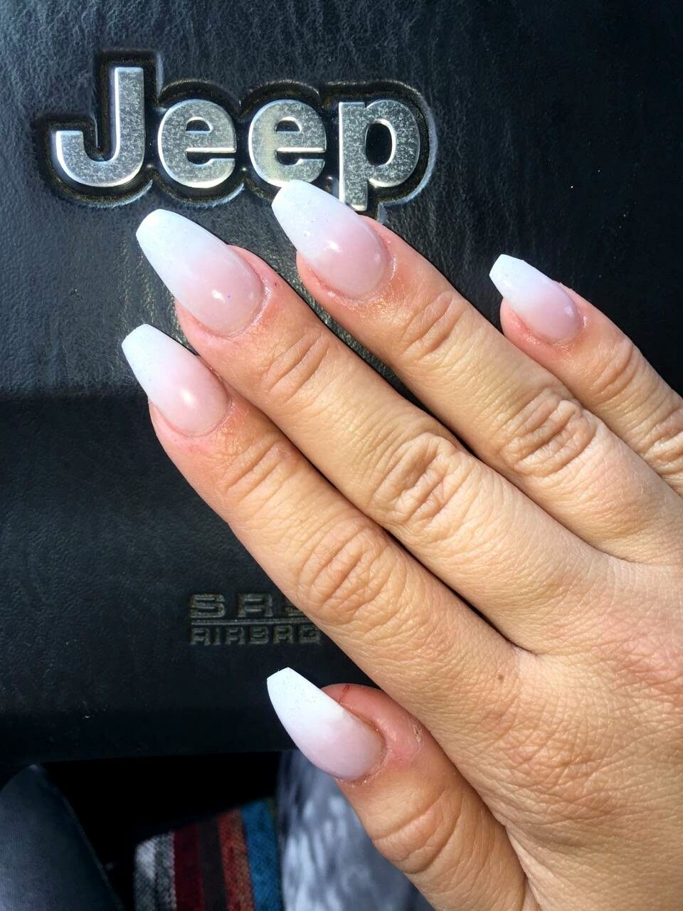 Acrylic French ombre coffin nails | My nail art | Pinterest | Coffin ...