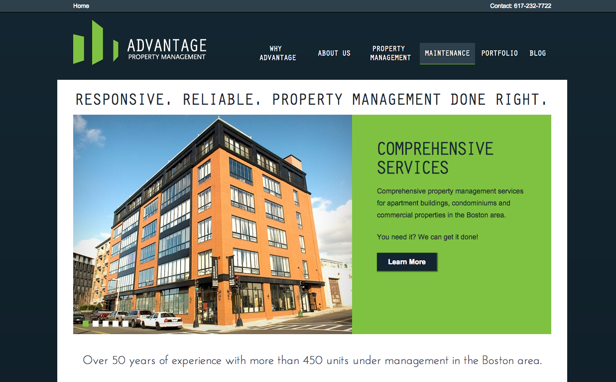 Advantage Property Management Home Page Design By Stratabeat Property Management Property Design Commercial Property