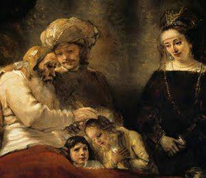 Resultado de imagem para Quadro de Rembrandt :Jacob abençoa Efraim