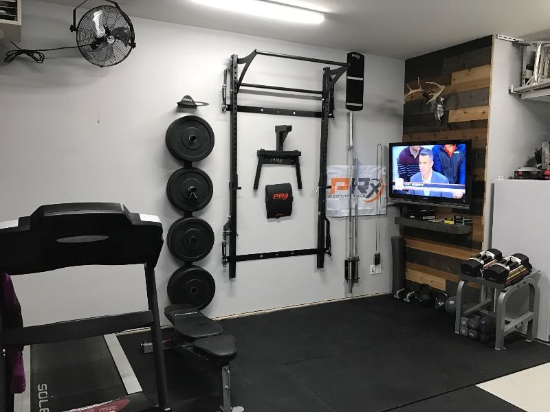 Fold Away Design Requires No Disassembly Our Patented Wall Mounted Folding Profile Squat Rack With Kipping Home Gym Basement Small Home Gyms Home Gym Garage