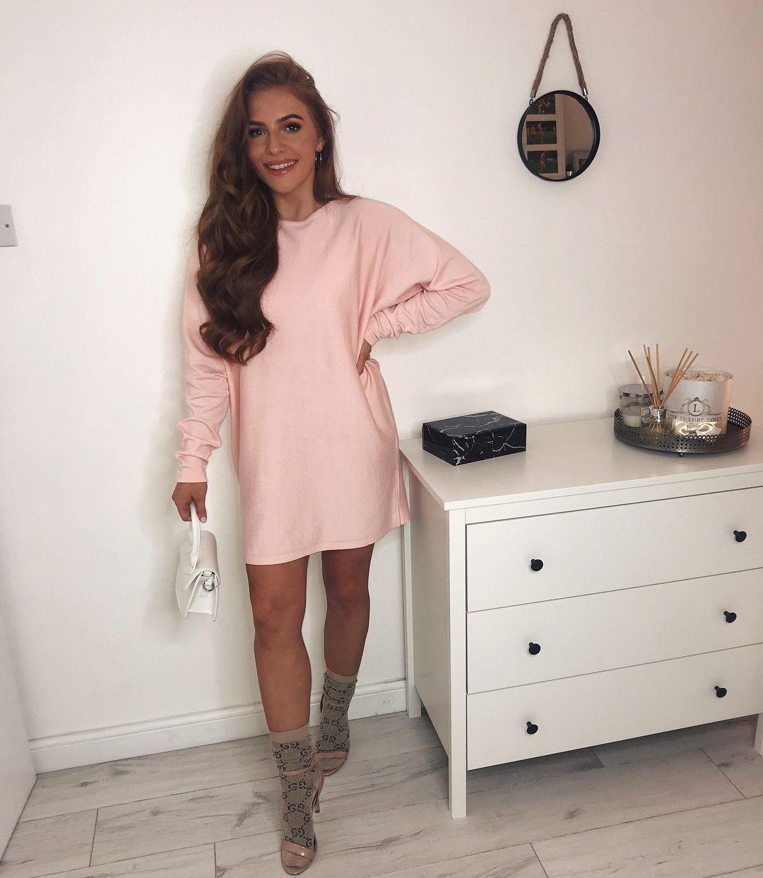 b6e3761d5c9 Oversized Knit Batwing Jumper Dress Pink in 2019
