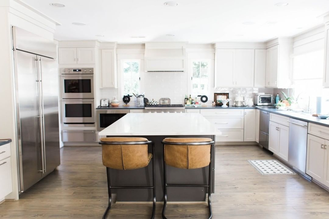 White Kitchen | Yellow Pine wood floors with Classic Grey ...