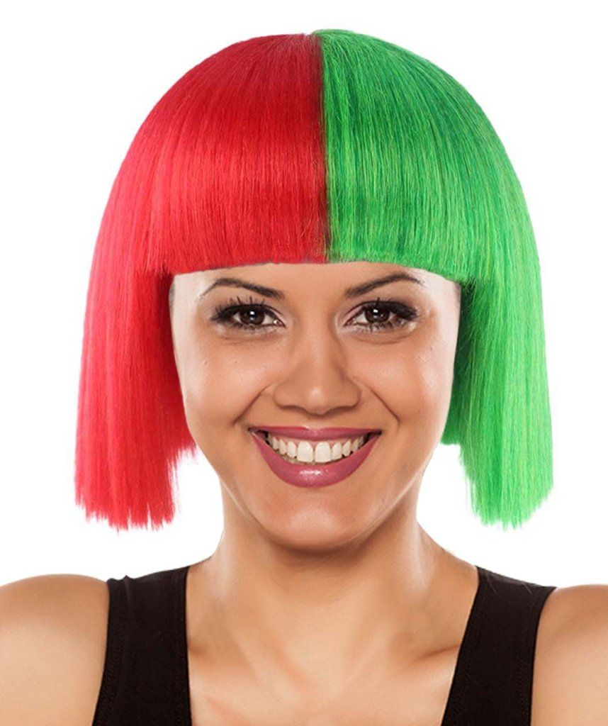 Christmas Australian Singer Wig Red Green Halh & Half