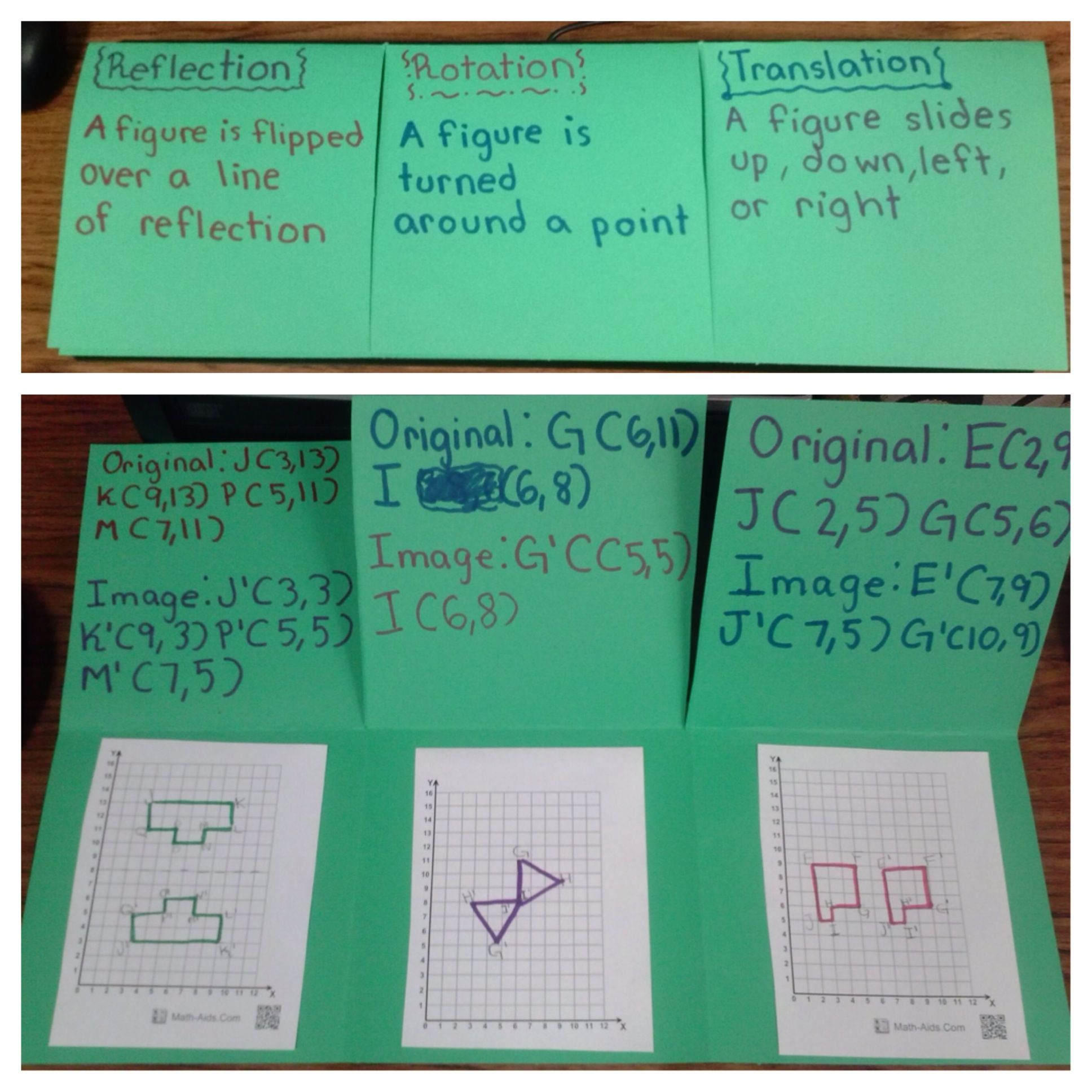 Math Foldable To Teach Rotation Translation And