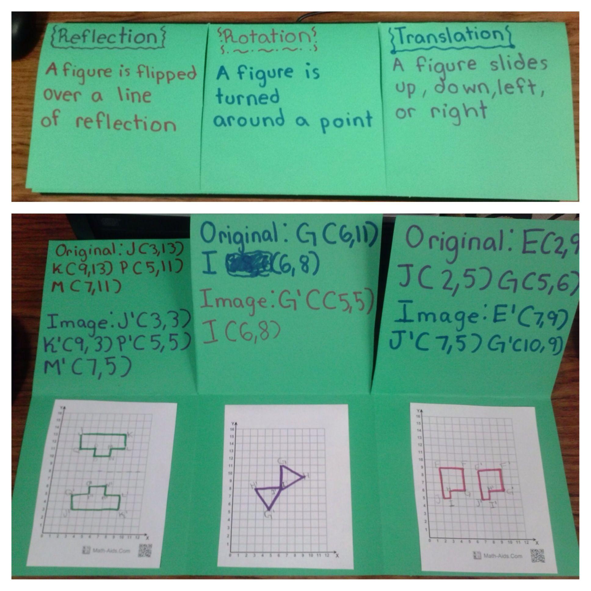 Math Foldable To Teach Rotation Translation And Reflection