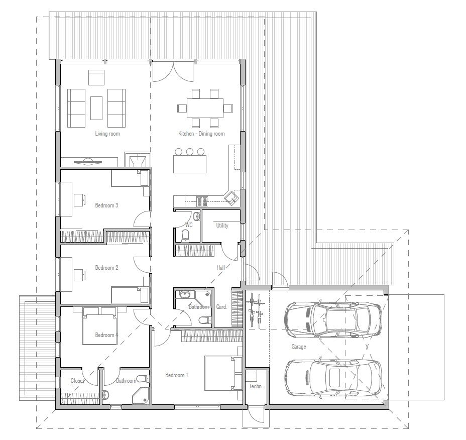 Independent And Simplified Life With Garage Plans With: Modern House With Spacious Living Room And Three Bedrooms