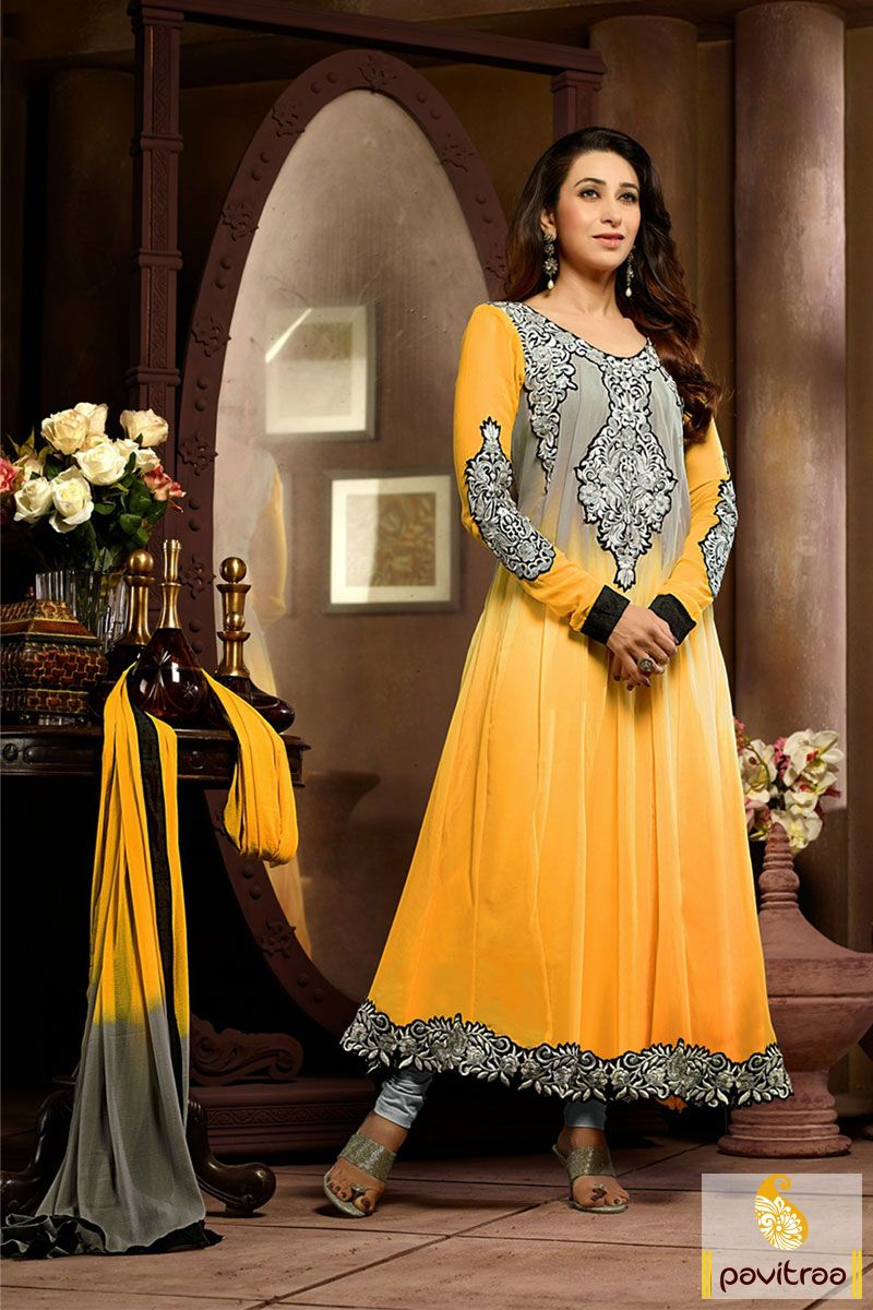 Pavitraa yellow and grey anarkali party wear salwar suit rs
