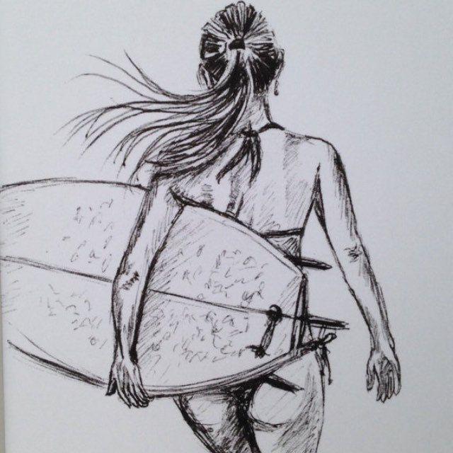 Photo of Eingehangener unterzeichneter Druck der Biro-Skizzensurfer-Mädchenbrandungskuns…