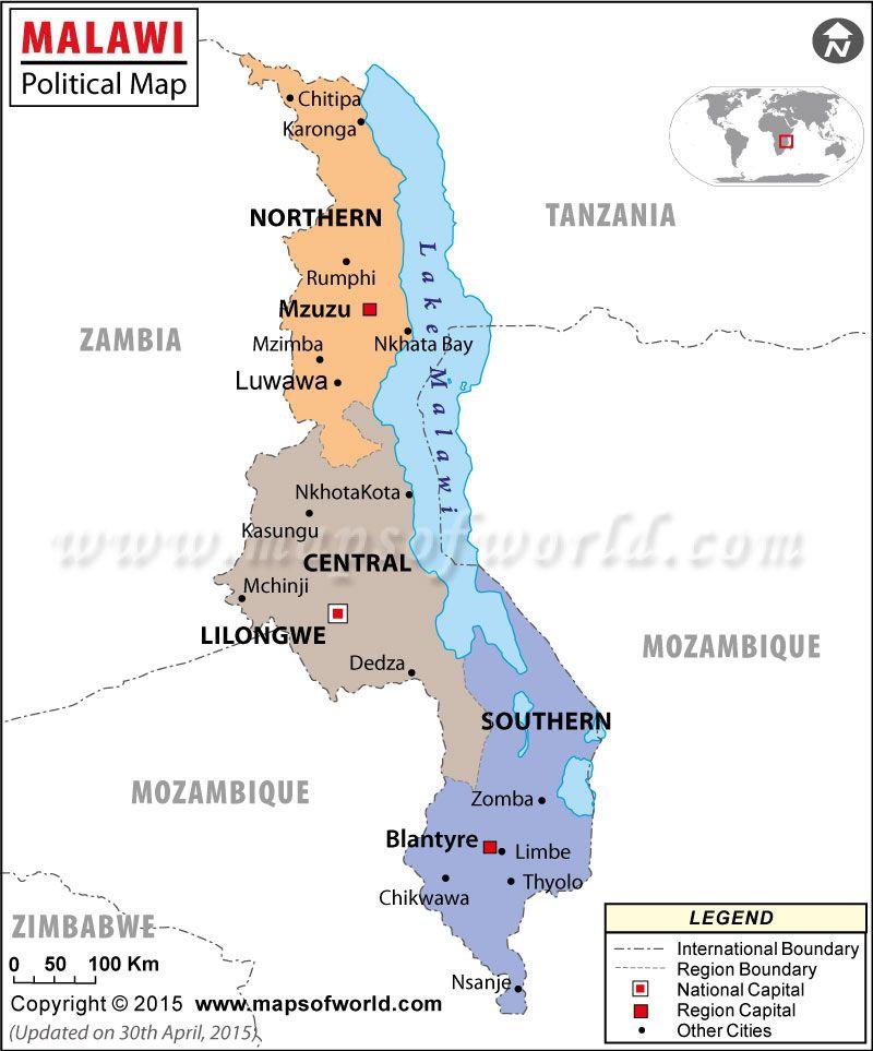 Mapa poltico de Malawi  Pases Africanos  Pinterest  Mapa