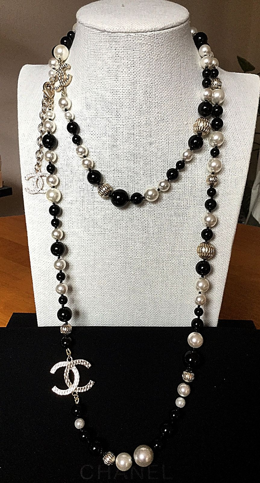 Chanel Black White Pearl Long Strand Necklace Cc Gold Metal Ball Chain 44