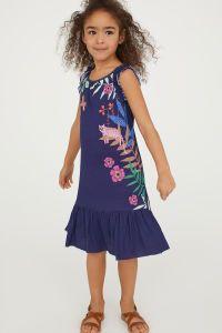 Bedrucktes Kleid | Dunkelblau/Blumen | KINDER | H&M DE ...