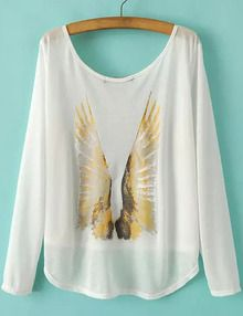White Round Neck Long Sleeve Wing Print T-shirt