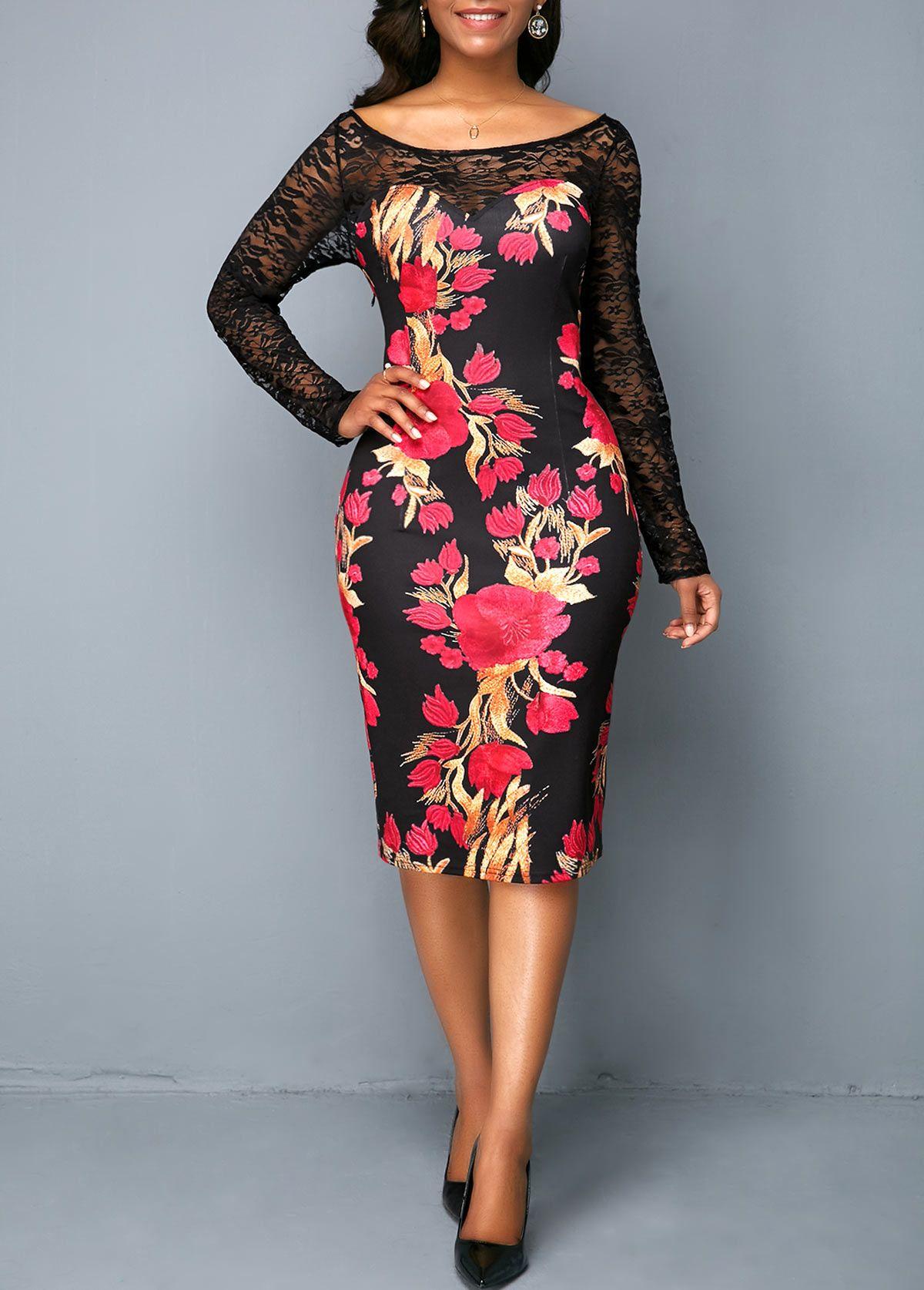 4188008a087 Flower Print Back Slit Lace Panel Sheath Dress