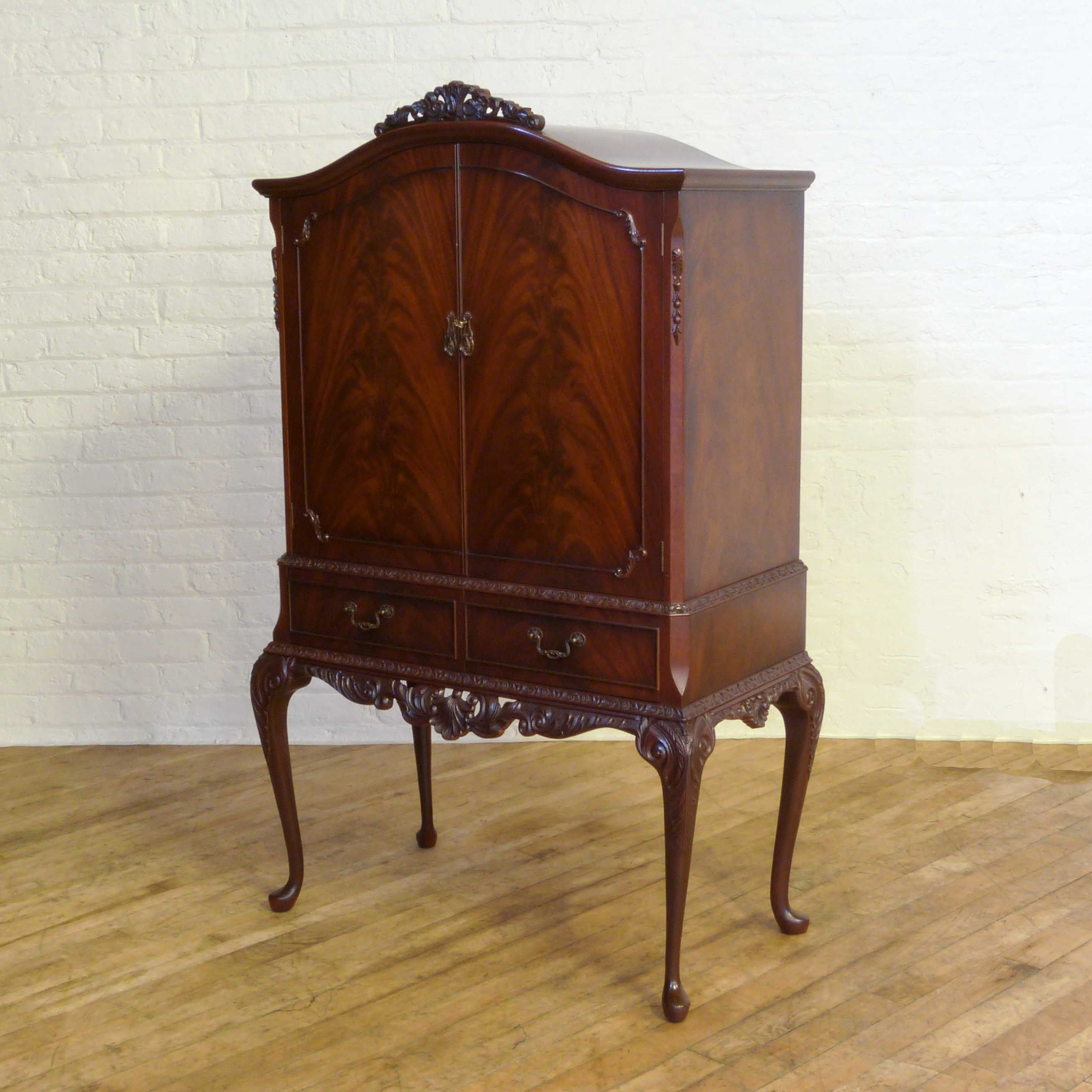 Queen Anne Style Mahogany Cocktail Cabinet witchantiques