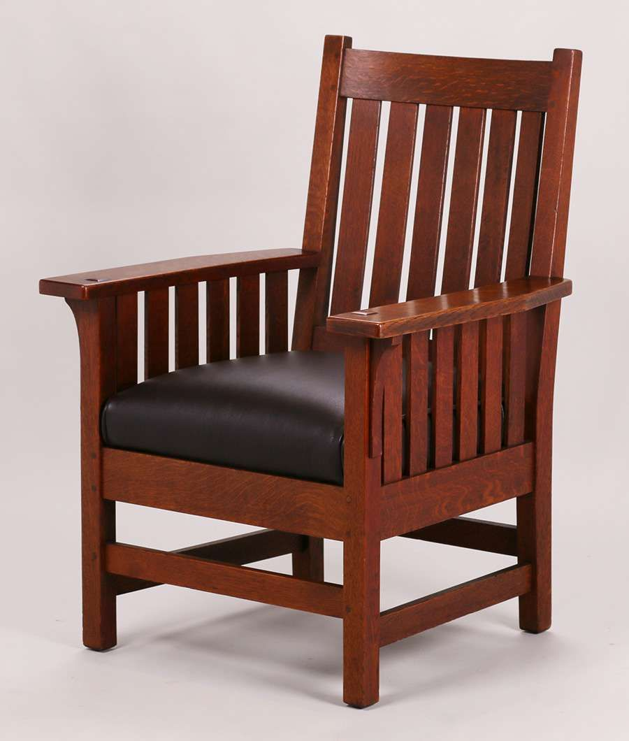 Lu0026JG Stickley Slatted Armchair. Unsigned. Excellent Original Finish.
