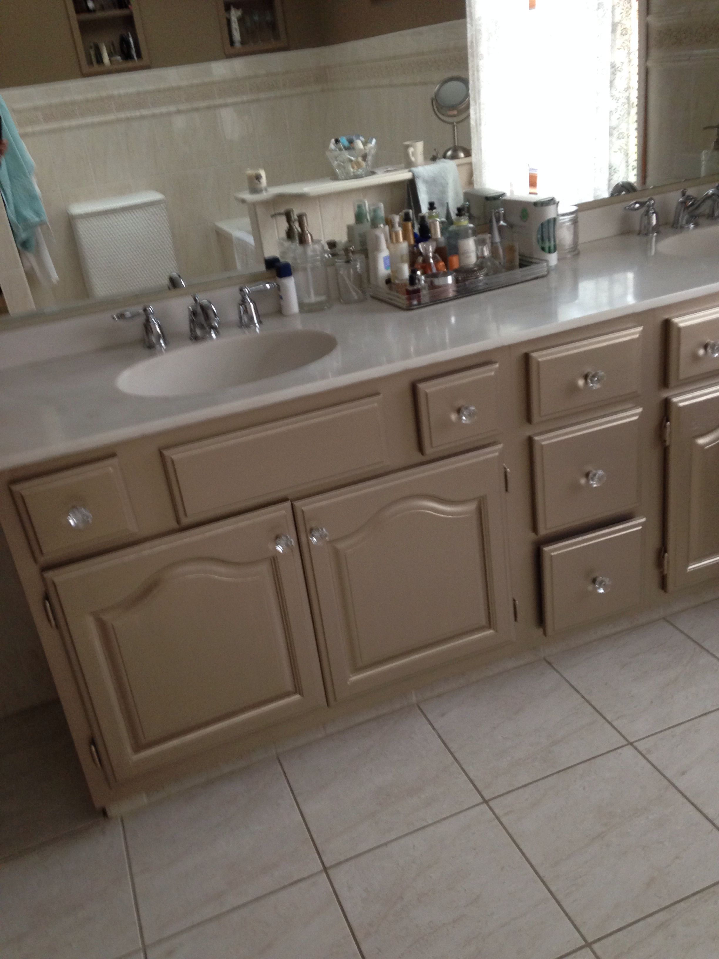 Martha S Metallic Paint On Bathroom Cabinets Maybe A Diffe Color Pearl