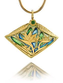 Patsy croft bird of paradise necklace chased 18k gold in plique a patsy croft bird of paradise necklace chased 18k gold in plique a jour aloadofball