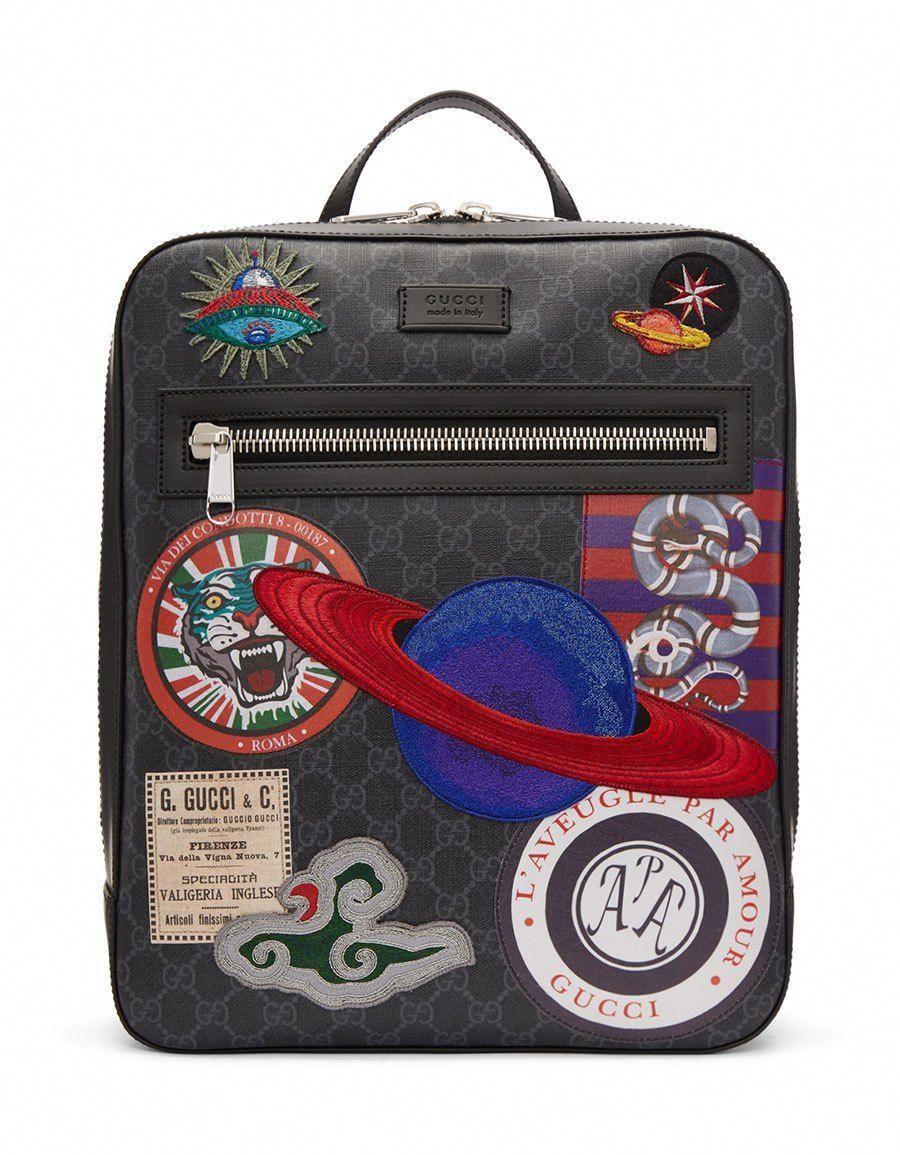GUCCI Black GG Supreme Patches Backpack · VERGLE  Guccihandbags ... 6856861e3b806
