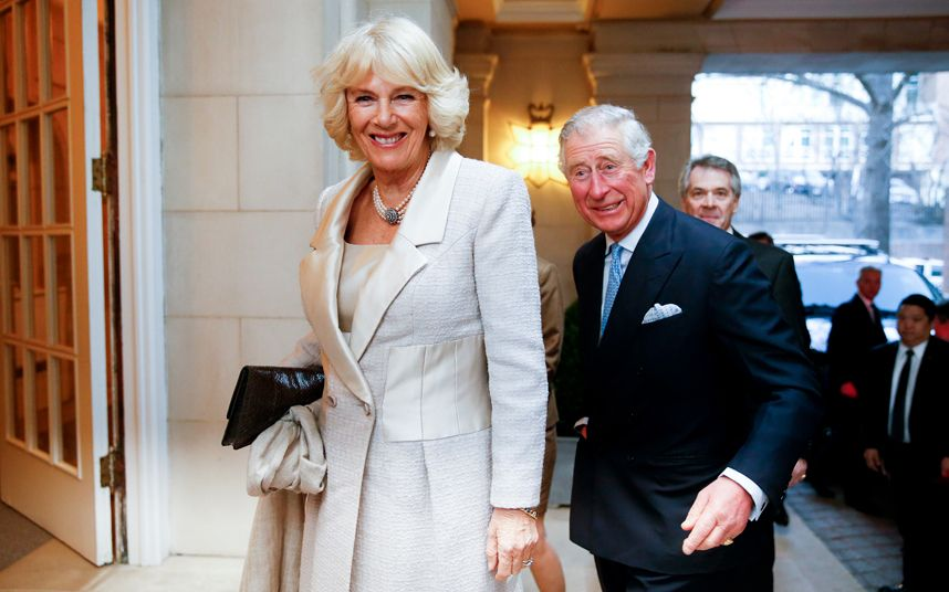 Prince Charles and Camilla, the Duchess of Cornwall arrive for a reception at the British Ambassador's residence
