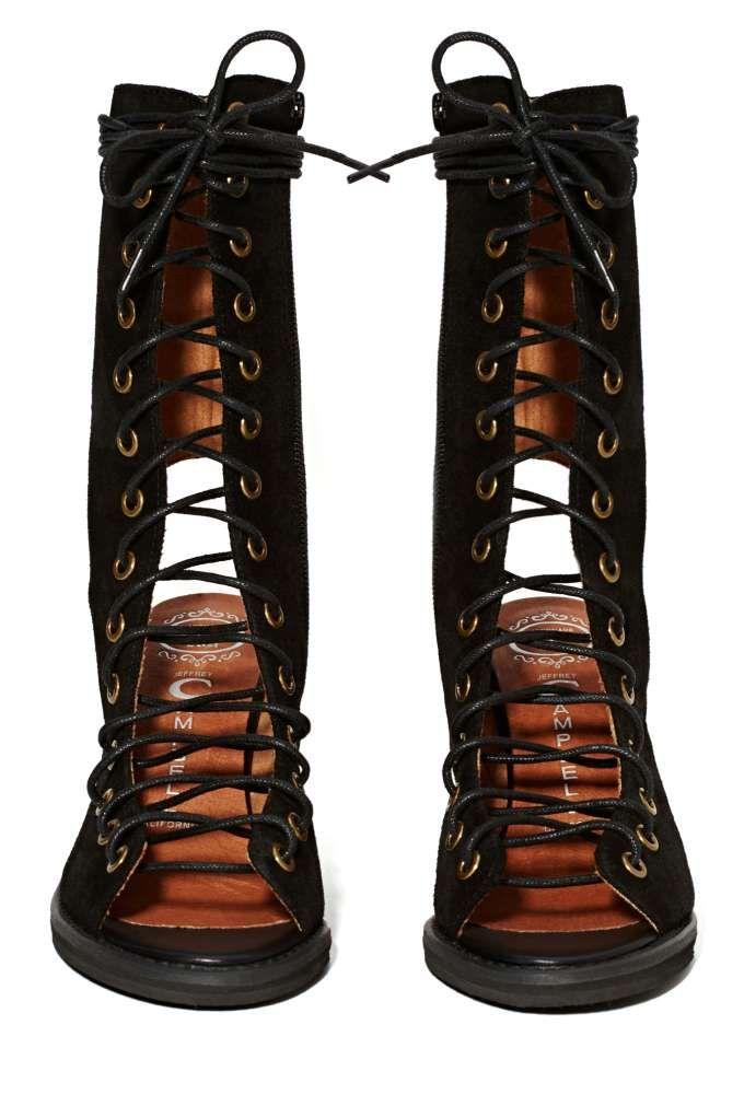 Jeffrey Campbell Contessa Bootie - Heels | Open Toe | Lace Up | Jeffrey Campbell