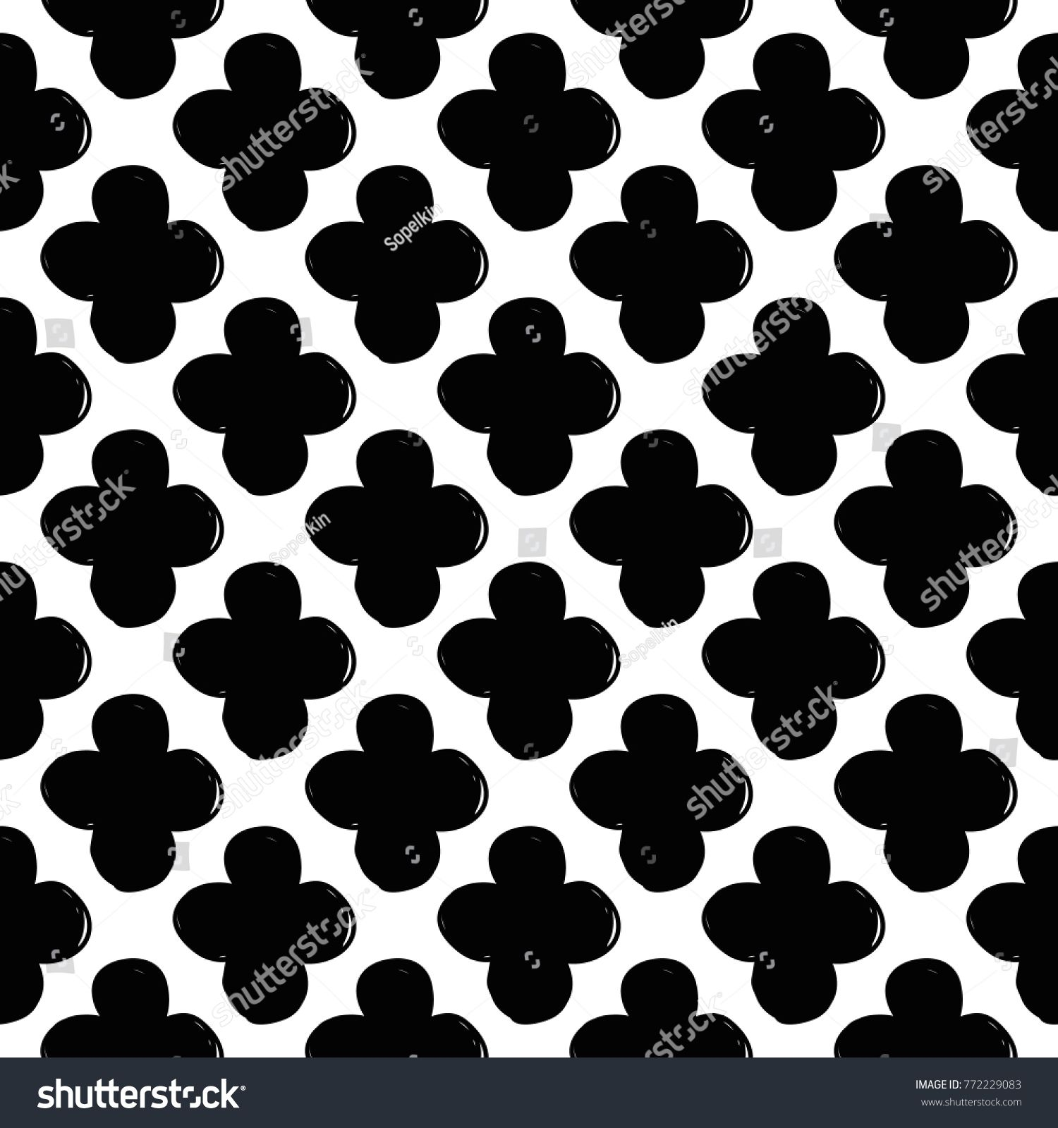 Modern Kids B W Seamless Pattern With Clover Hand Drawn Graphic Black And White Cute Minimalistic Scandinavia Cute Little Girls Photoshop Photos Photo Effects