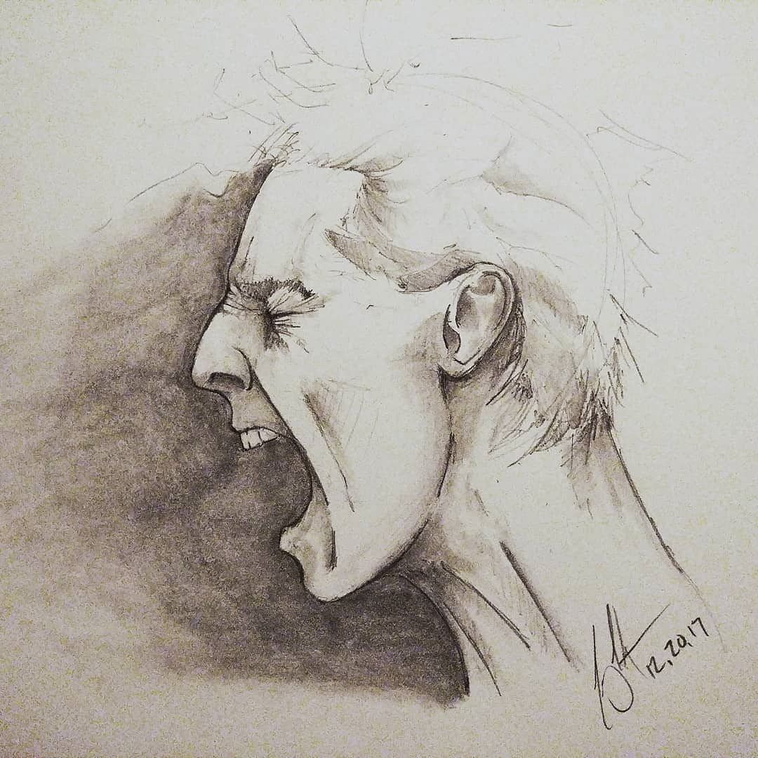 Art portrait face scream man