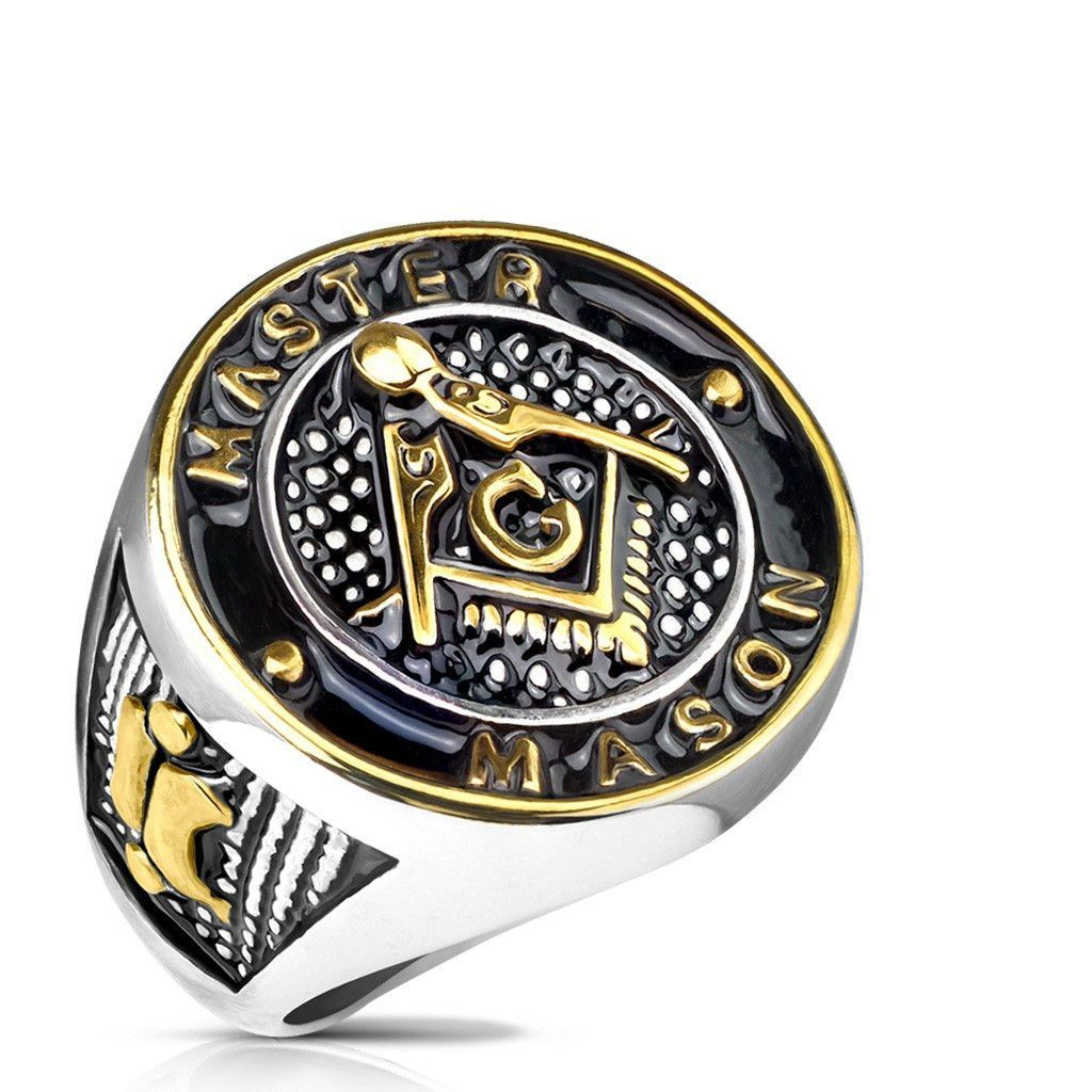 Master Mason Gold And Black IP Round Face Stainless Steel