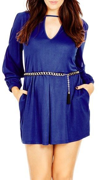 e4e8a842077 City Chic  Peekaboo Playsuit  Belted Long Sleeve Romper (Plus Size ...