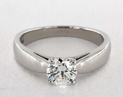 48d886ee5fd8e 1.01ct Round, Wide Cathedral Solitaire Diamond Engagement Ring in ...