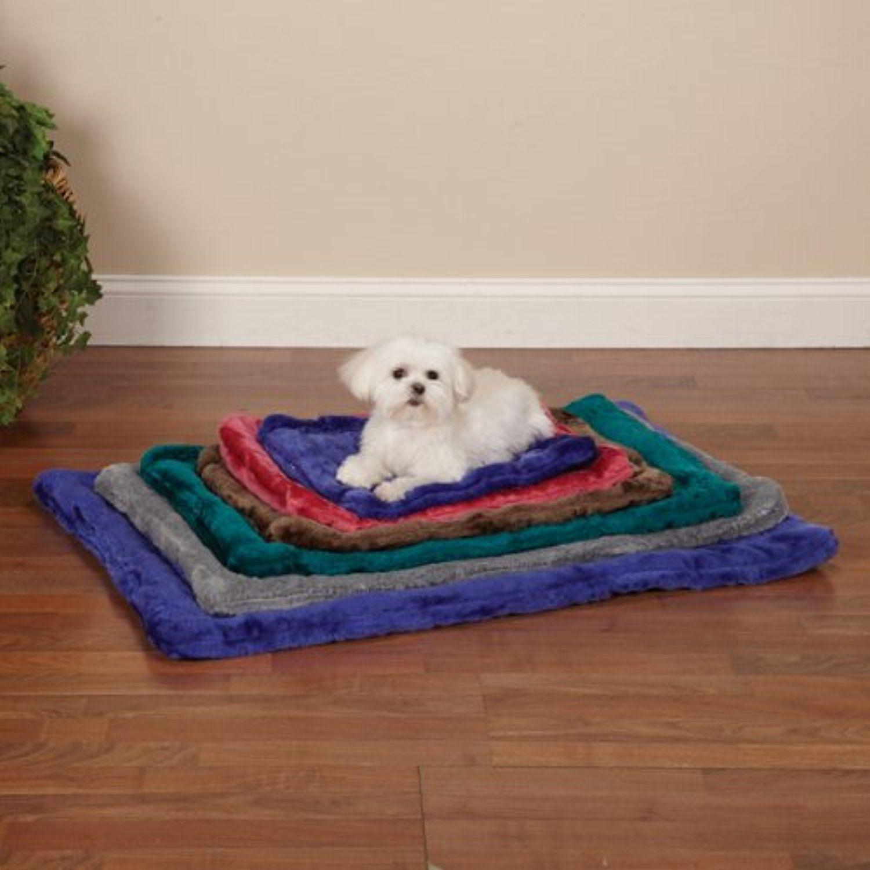 slumber pet plush crate dog mat x large 35 inch chocolate
