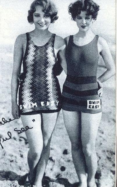 Leila Hyams + Myrna Loy in knitted swimsuits 'Swim Easy'.