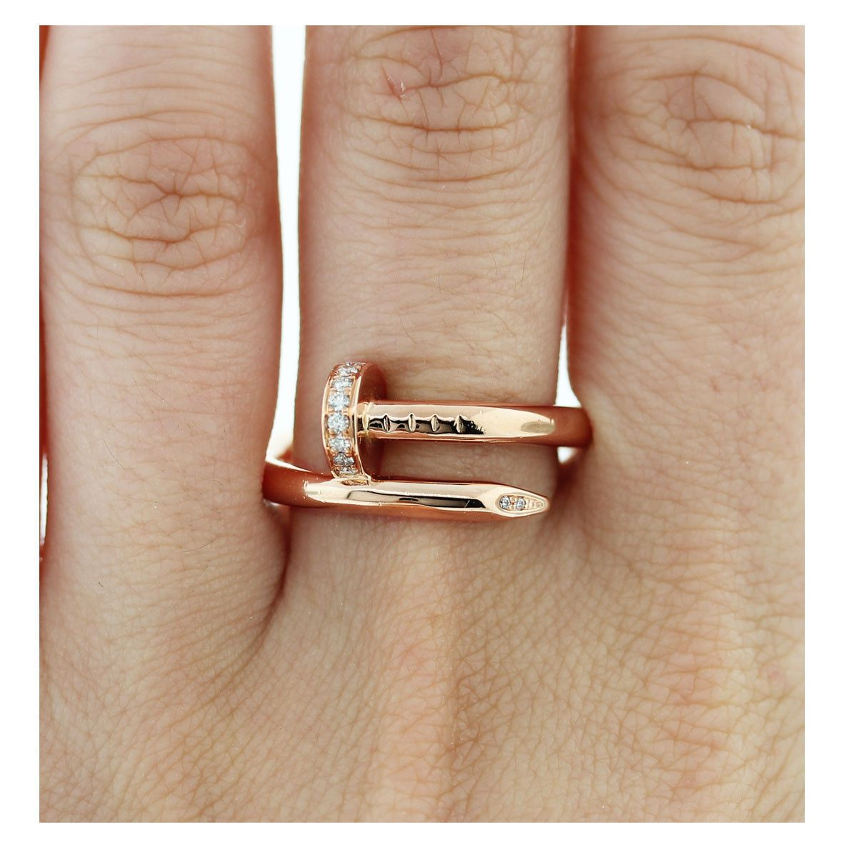 182eac22ea686 Details about Cartier 18k Rose Gold Juste Un Clou Diamond Nail Ring ...