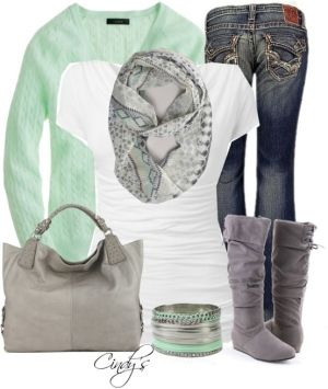 Mint cardigan and grey boots by Tallie