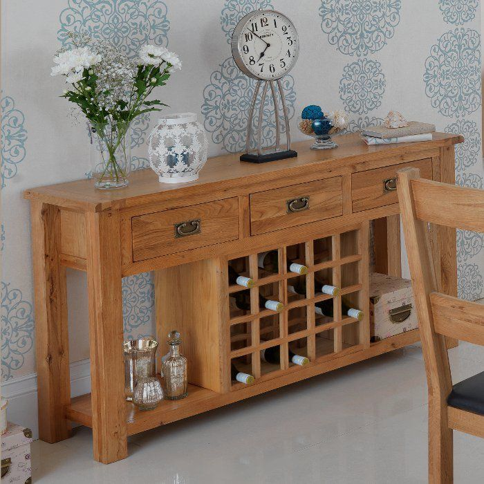 Rustic Oak Wine Rack With Console Table