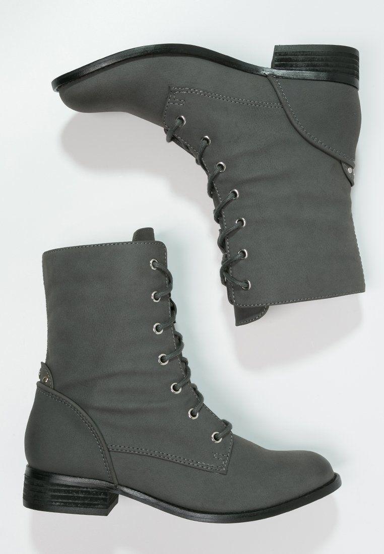 Even Odd Botki Sznurowane Grey Zalando Pl Even And Odd Fashion Combat Boots