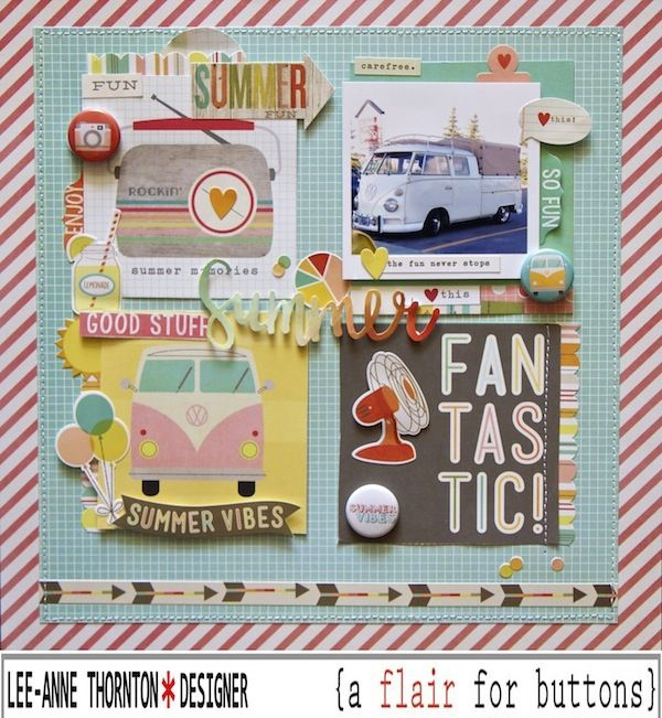 Layout by Lee-Anne Thornton using Simple Stories Summer Vibes and {a flair for buttons}.