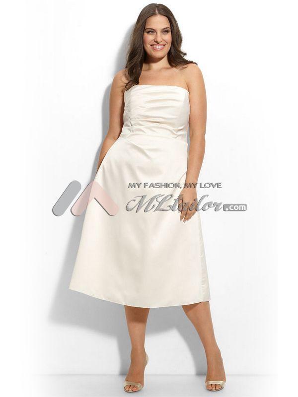 A Line Strapless Tea Length Satin Plus Size Cocktail Dress