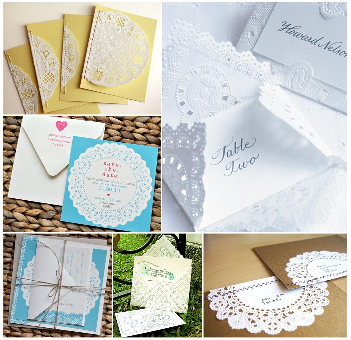 vintage wedding stationery doilies wedding invitations   Dit is nou ...