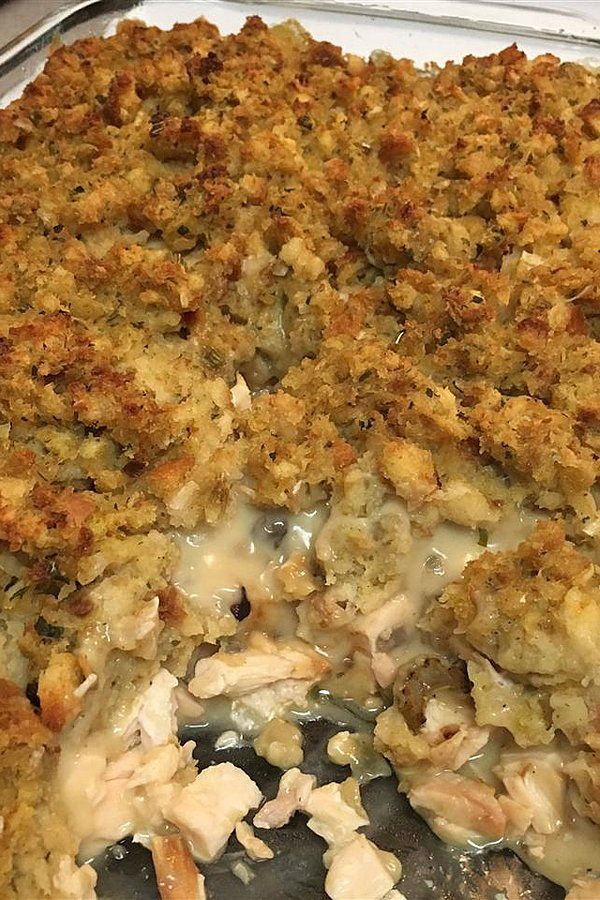 Rotisserie Chicken and Stuffing Casserole #dishesfordinner