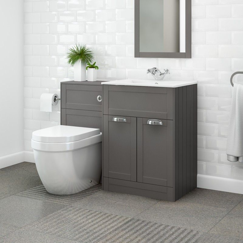 Nottingham 600 Grey Combination Unit With Aurora Back To Wall Toilet Back To Wall Toilets Grey Bathrooms Small Bathroom