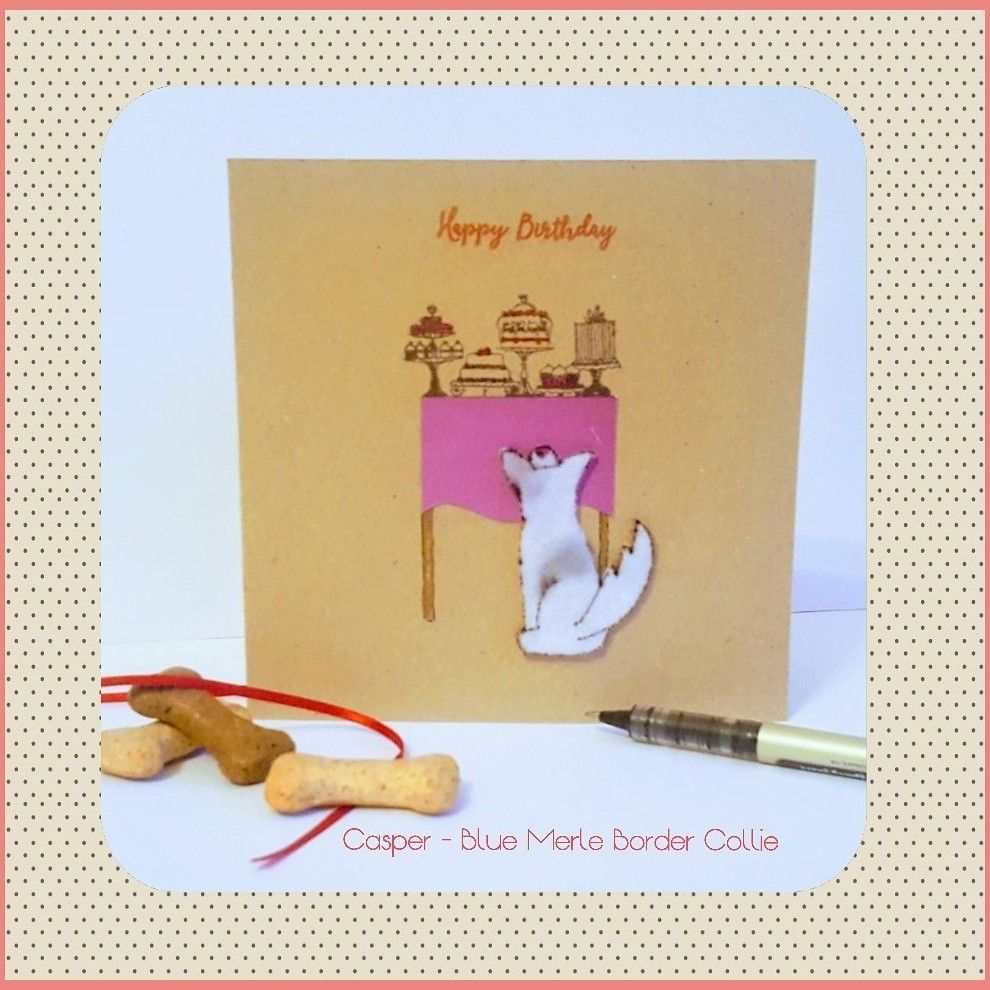 Border Collie Blue Merle Birthday Card Design Www Etsy Com Uk Shop