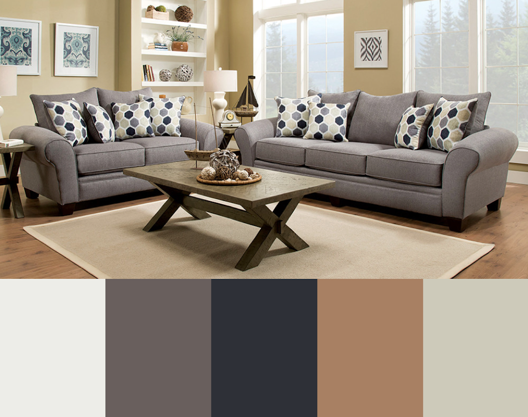 Neutral Living Room Color Scheme Gray Charcoal Tan White American Freight Furniture And Mattres Living Room Color Schemes Living Room Grey Tan Living Room